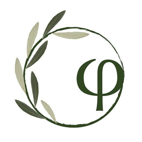 Logo - Greek letter f encircled in an olive tree branch with dark and light green leaves.