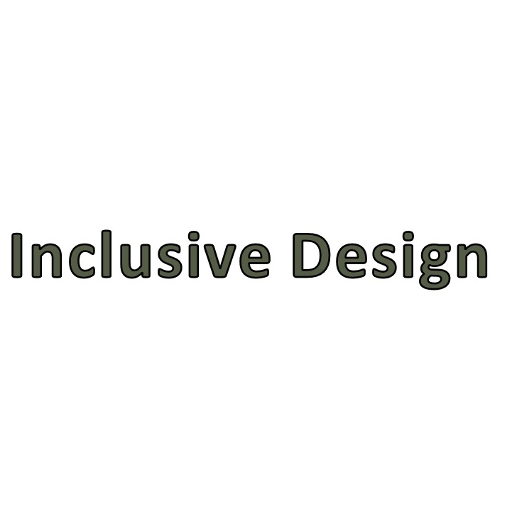 Inclusive Design title tile in dark olive green against white background.